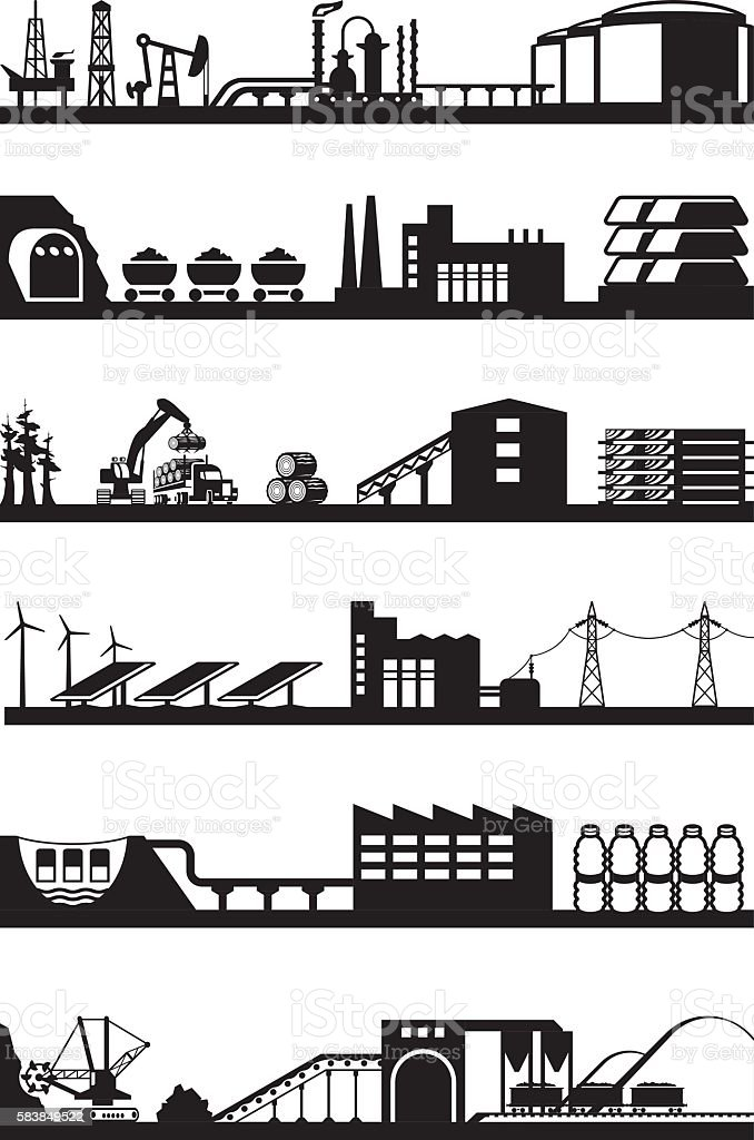 Processing of natural resources vector art illustration