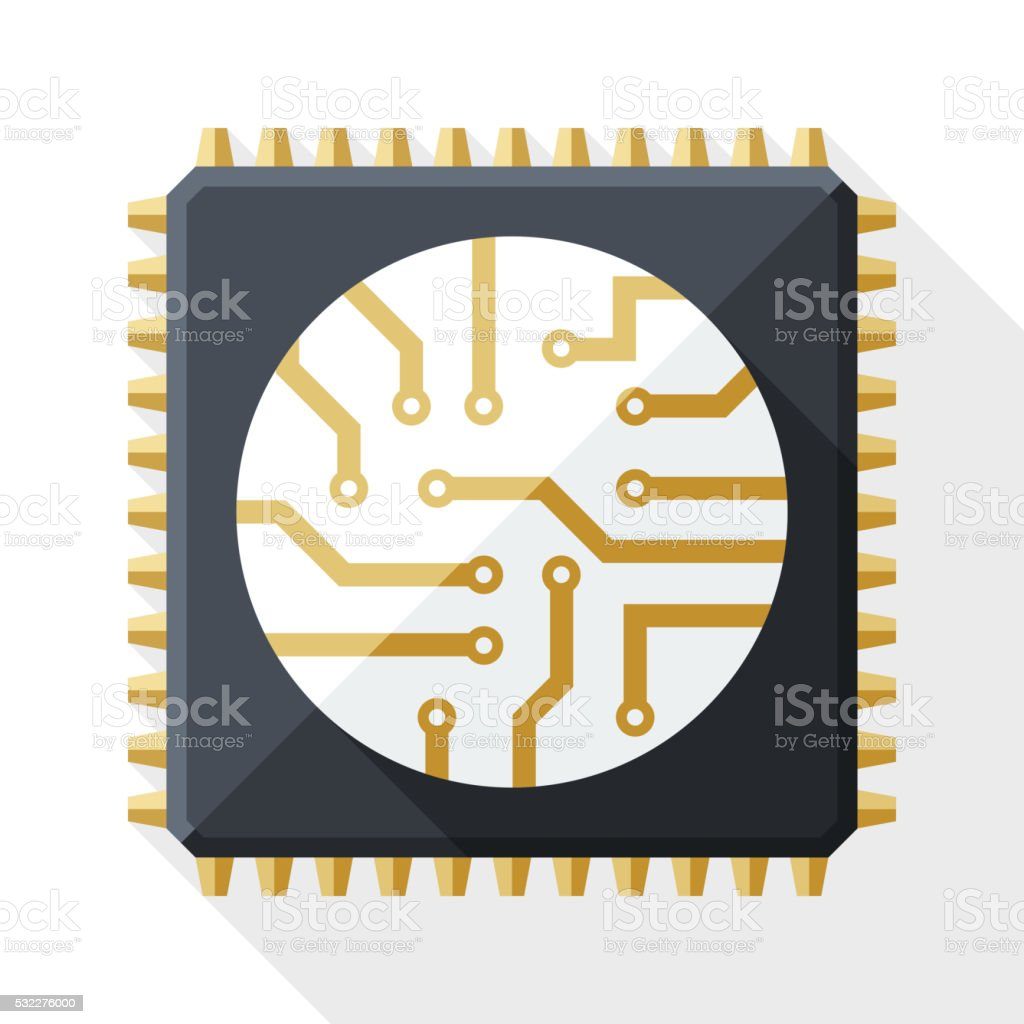Processor icon with long shadow on white background vector art illustration