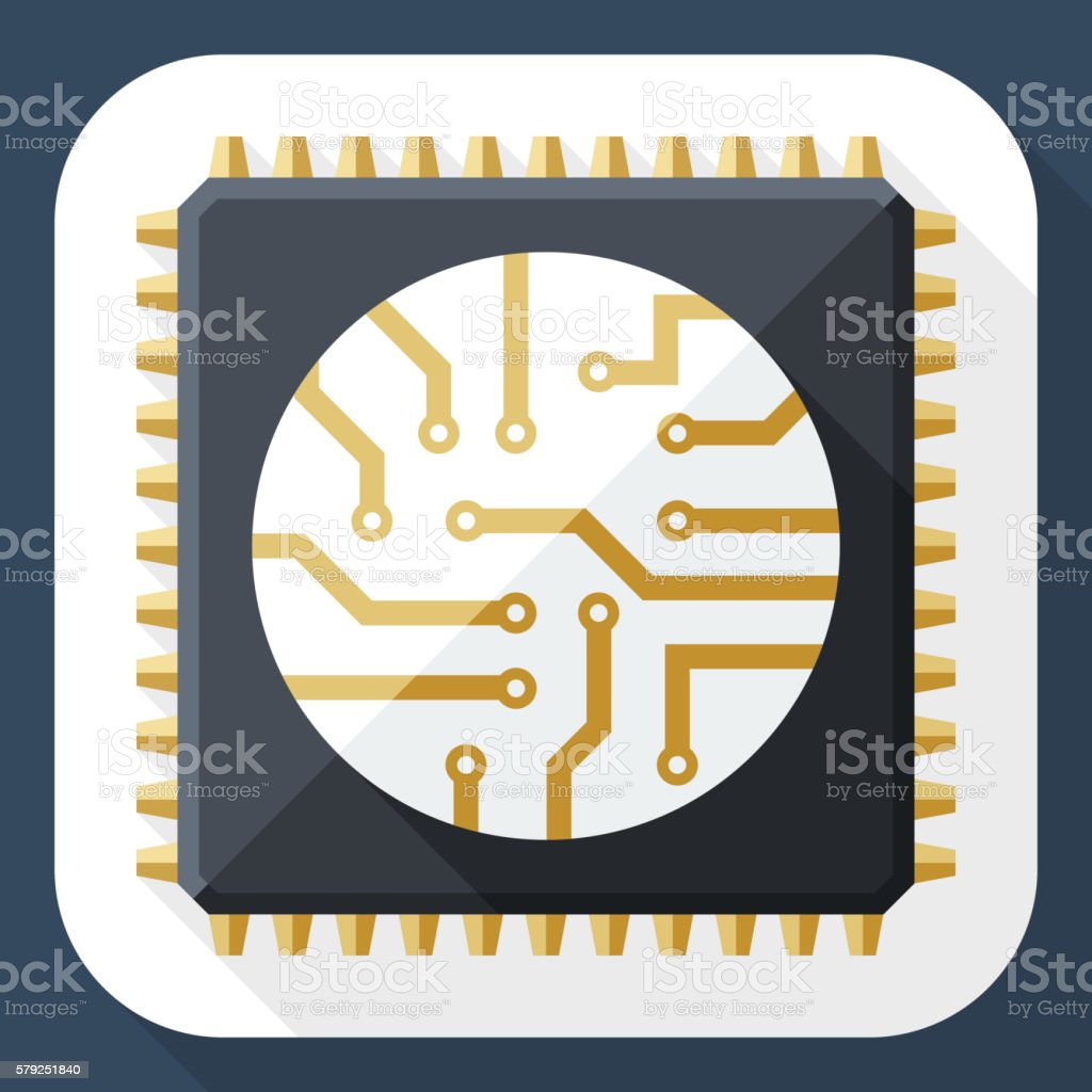 Processor icon with long shadow vector art illustration
