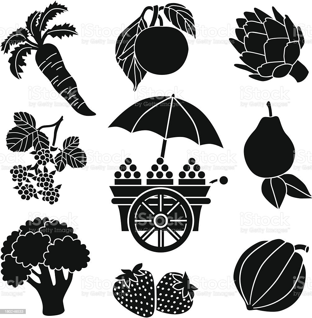 produce and cart vector art illustration