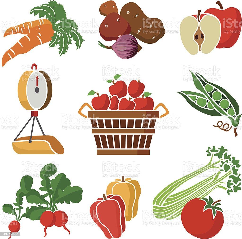 produce department icon set vector art illustration