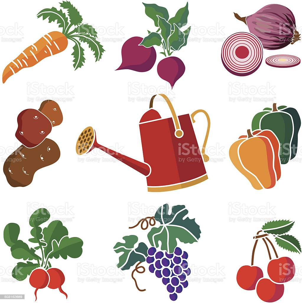 produce from the garden icon set vector art illustration