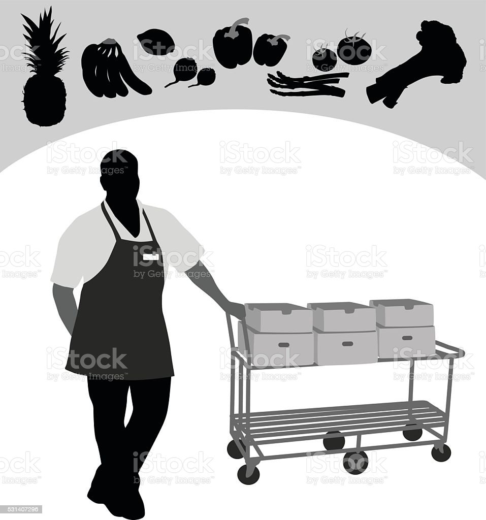 Produce Grocery Worker vector art illustration