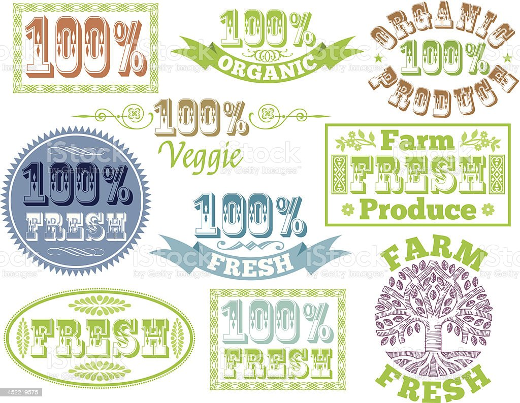 Produce labels royalty-free stock vector art