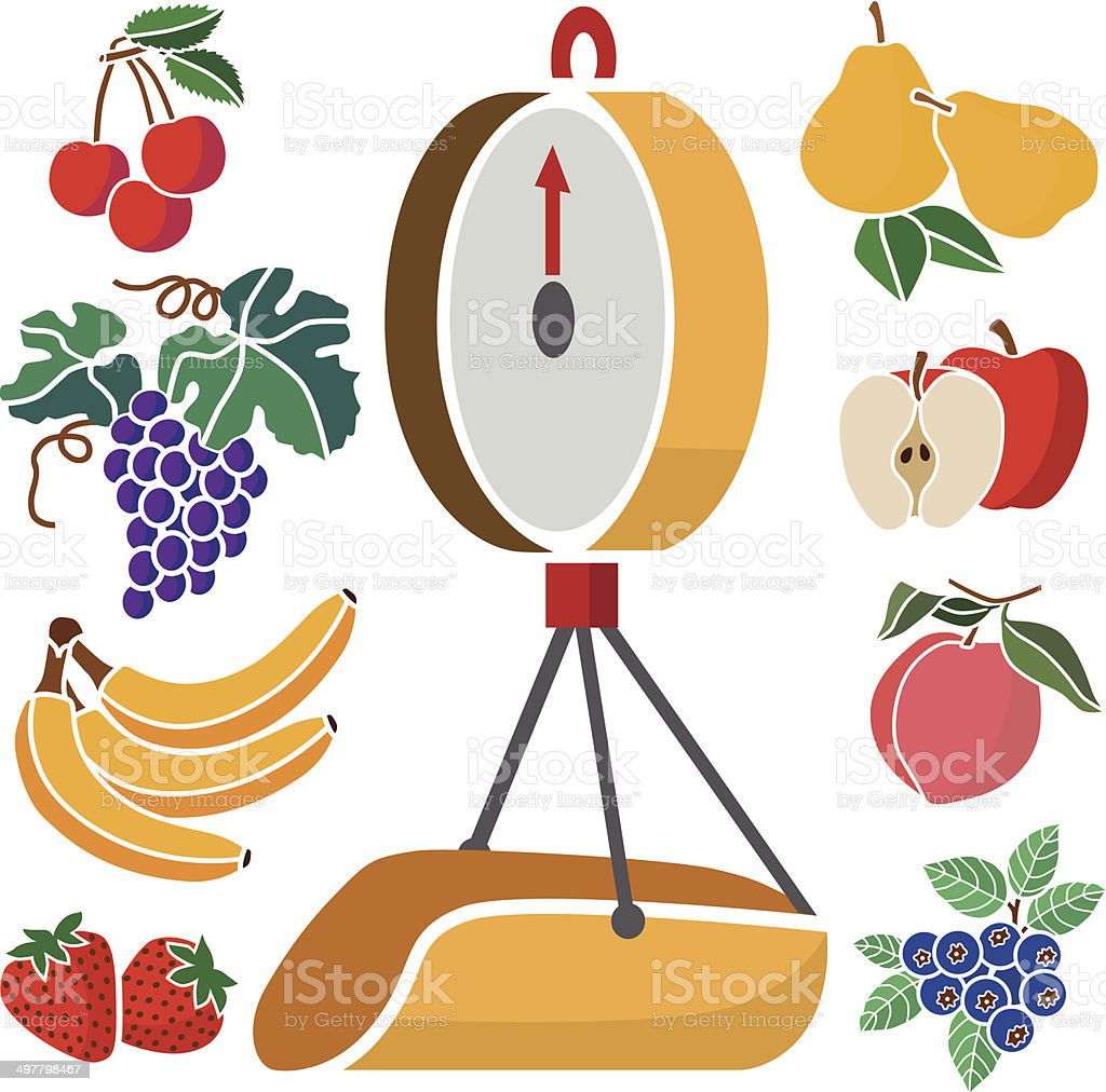 produce scale and fruit royalty-free stock vector art