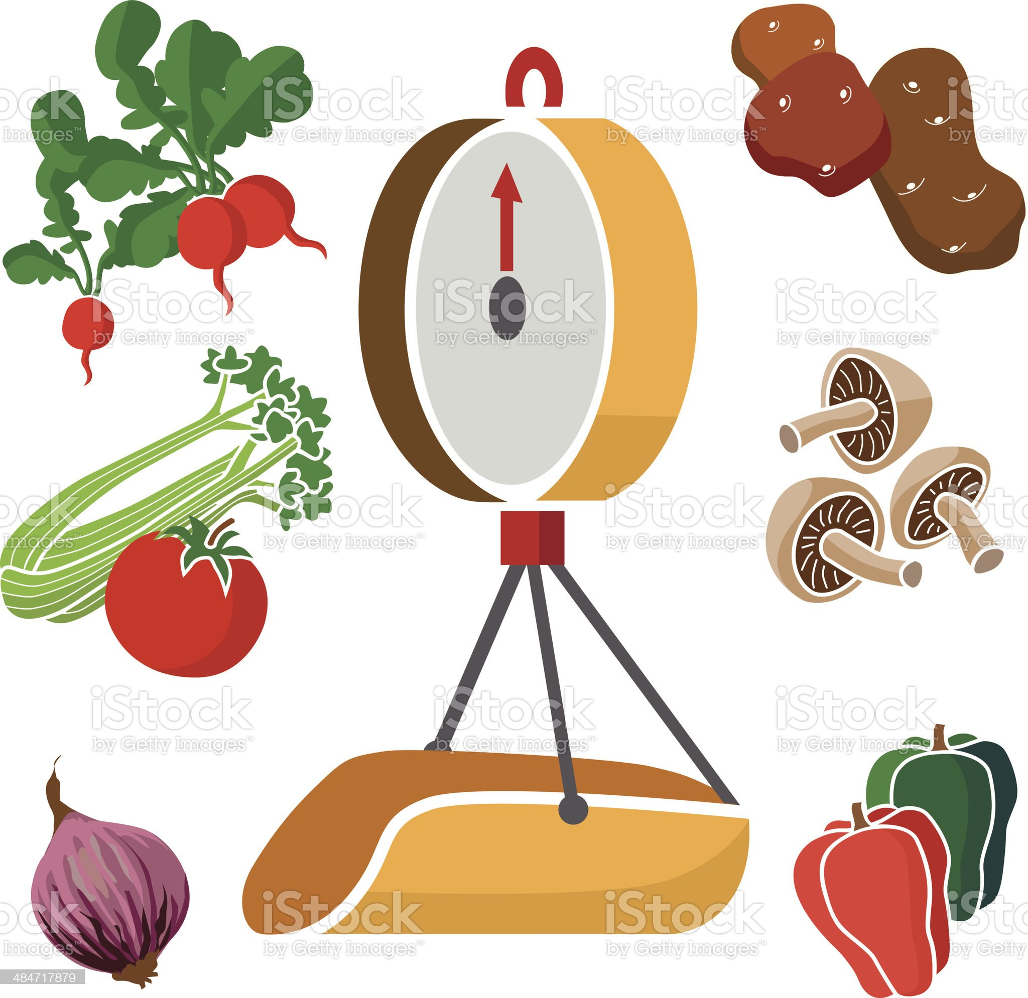 produce scale and vegetables royalty-free stock vector art