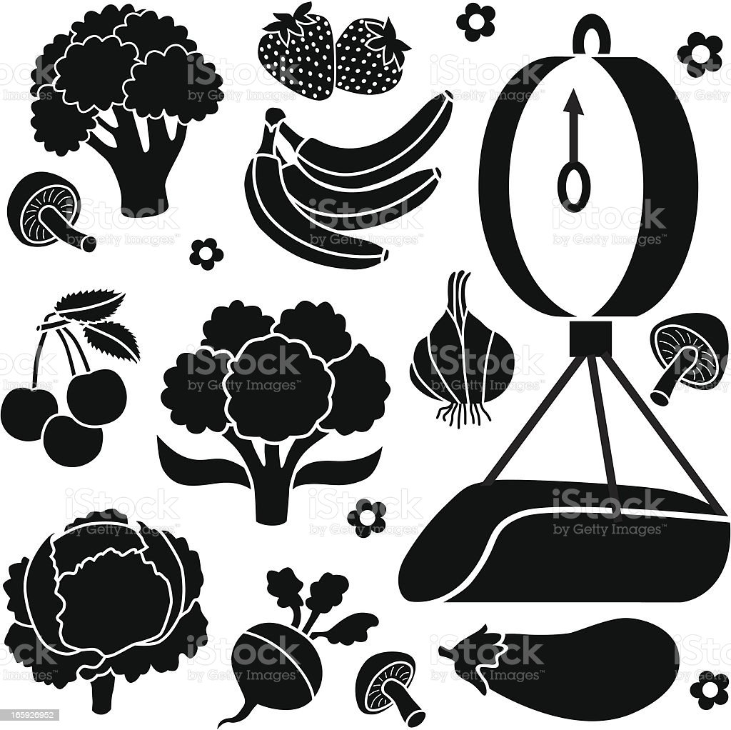 produce scale icons vector art illustration