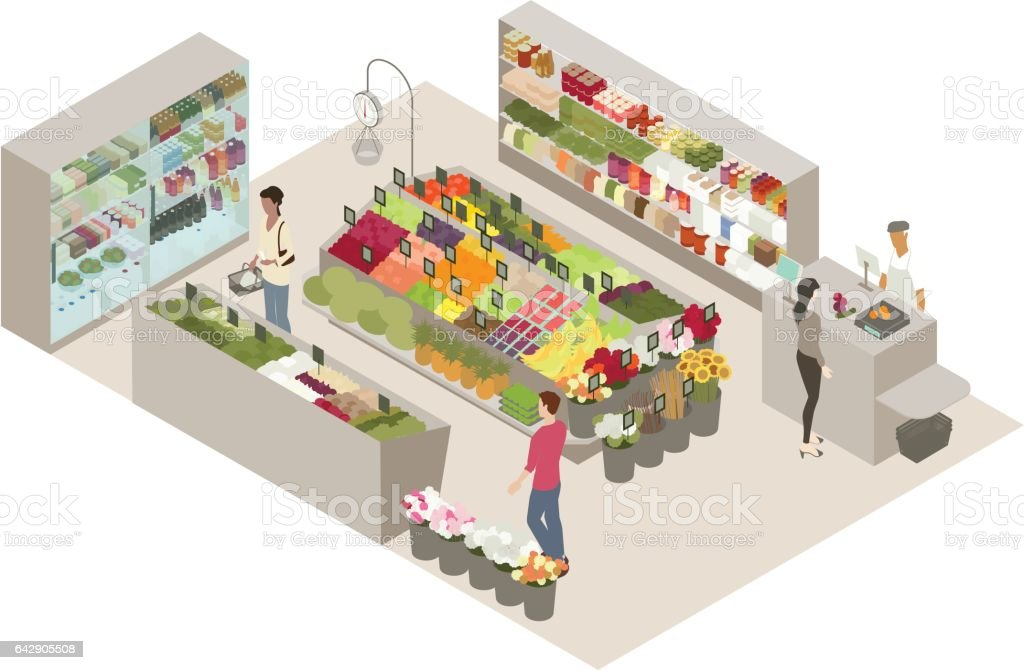 Produce shop illustration vector art illustration