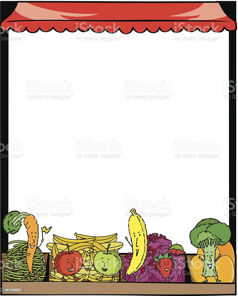 Produce Stand Frame royalty-free stock vector art
