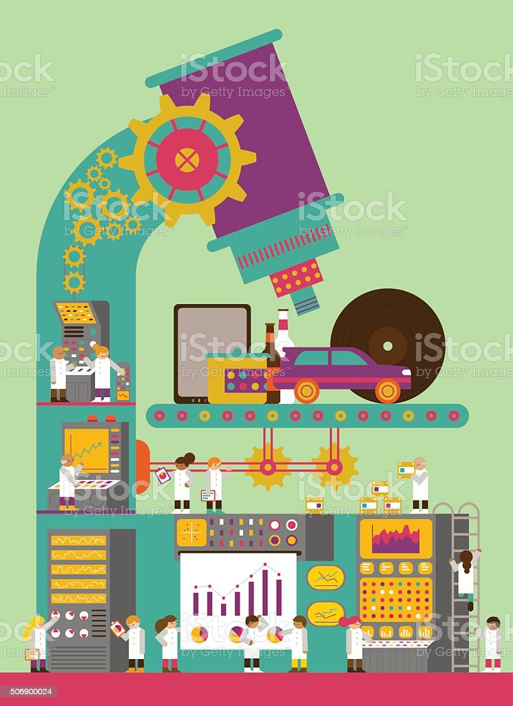 Product Development & Research vector art illustration