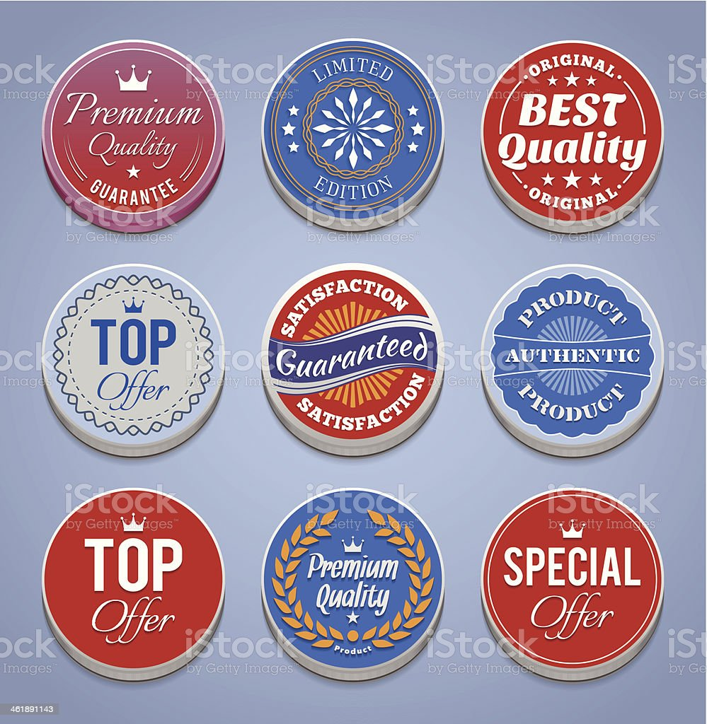 Product promotion buttons and badges royalty-free stock vector art
