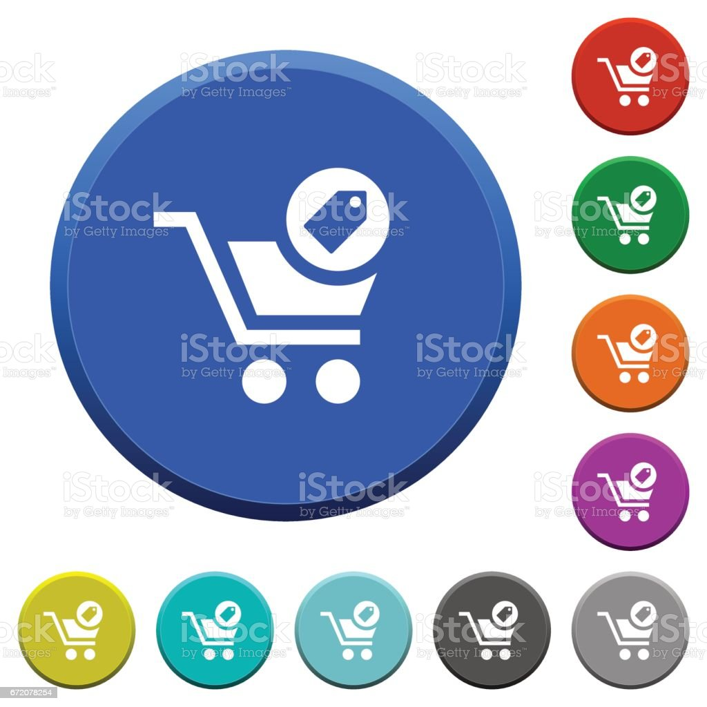 Product purchase features beveled buttons vector art illustration