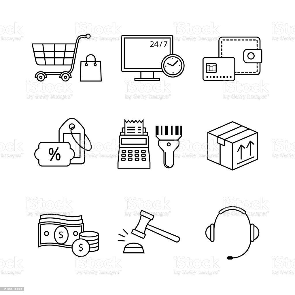 Product retail business, internet commerce vector art illustration