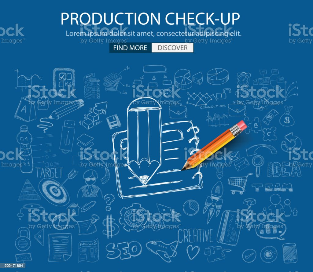 Production Check Up concept with Doodle design style vector art illustration
