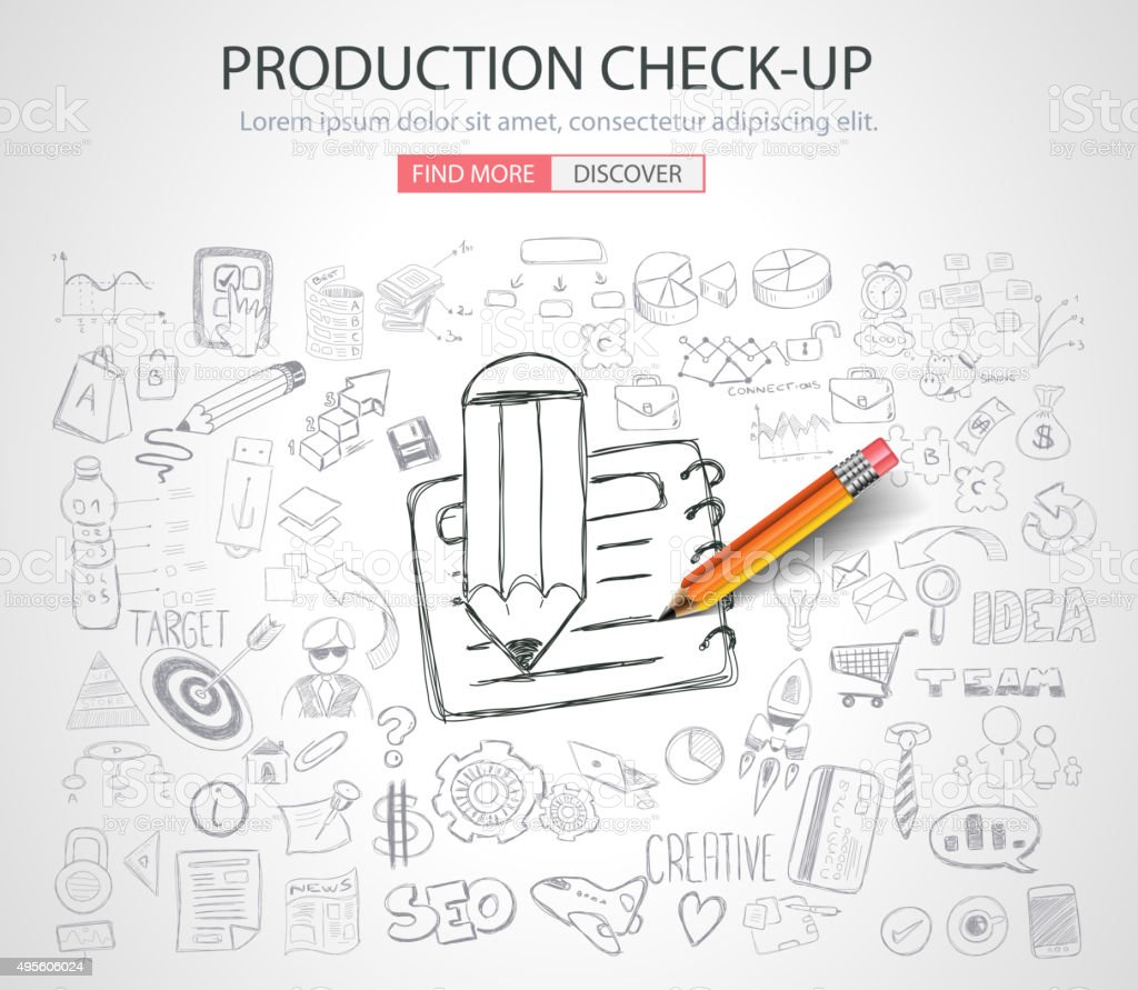Production Check-up concept with Doodle design style vector art illustration