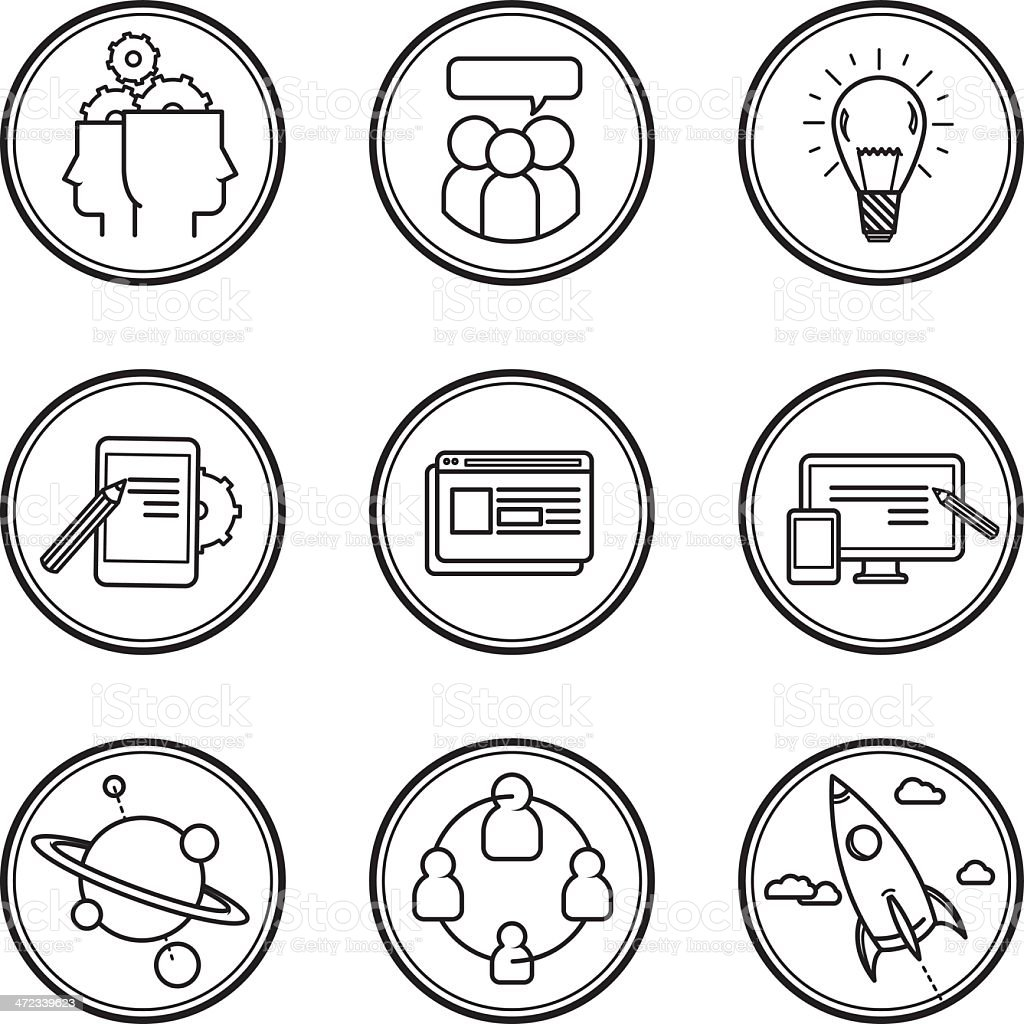Production process iconographies royalty-free stock vector art