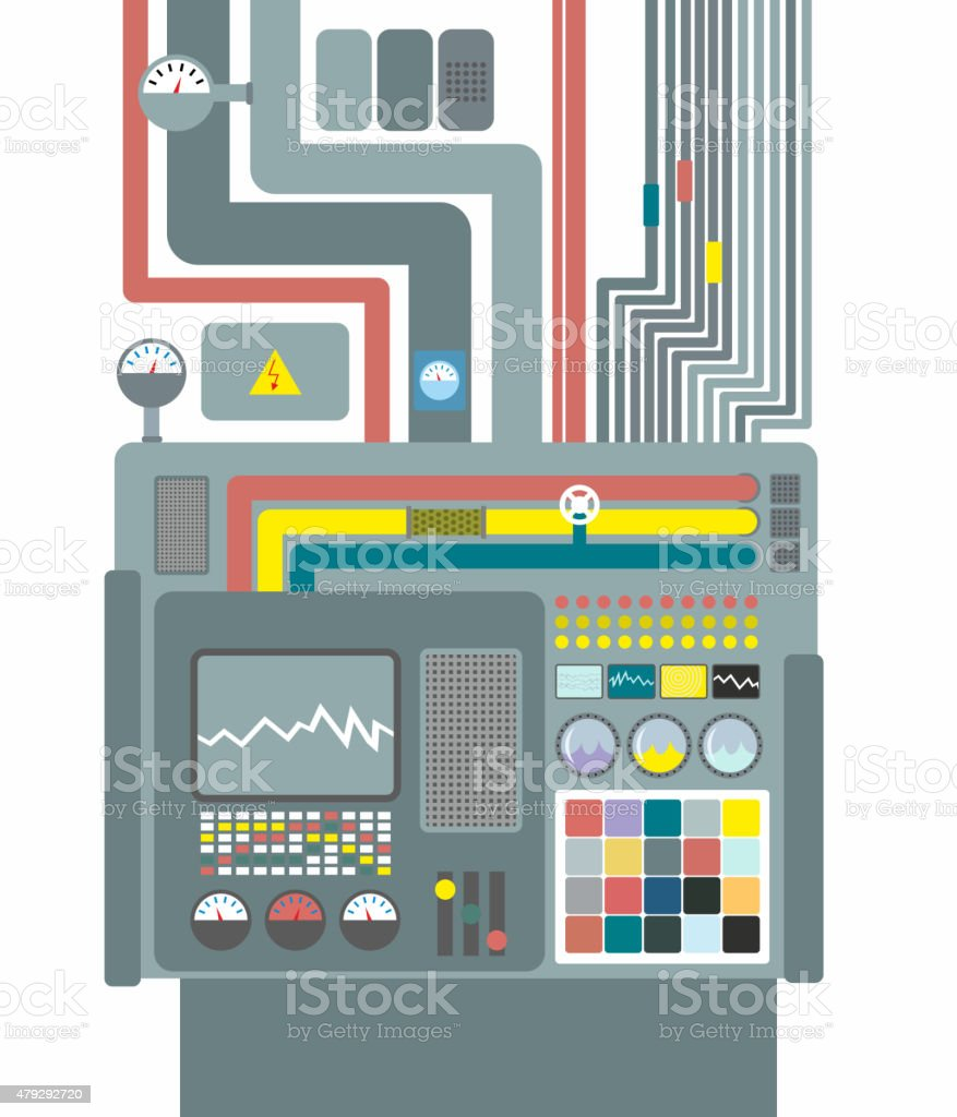 Production system. Control Panel with buttons and sensors. Butto vector art illustration