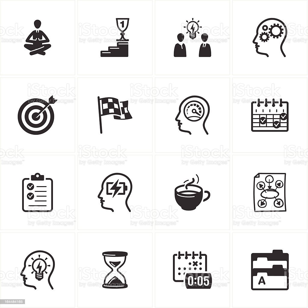Productive at Work Icons vector art illustration