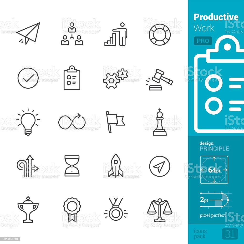 Productivity at Work vector icons - PRO pack vector art illustration