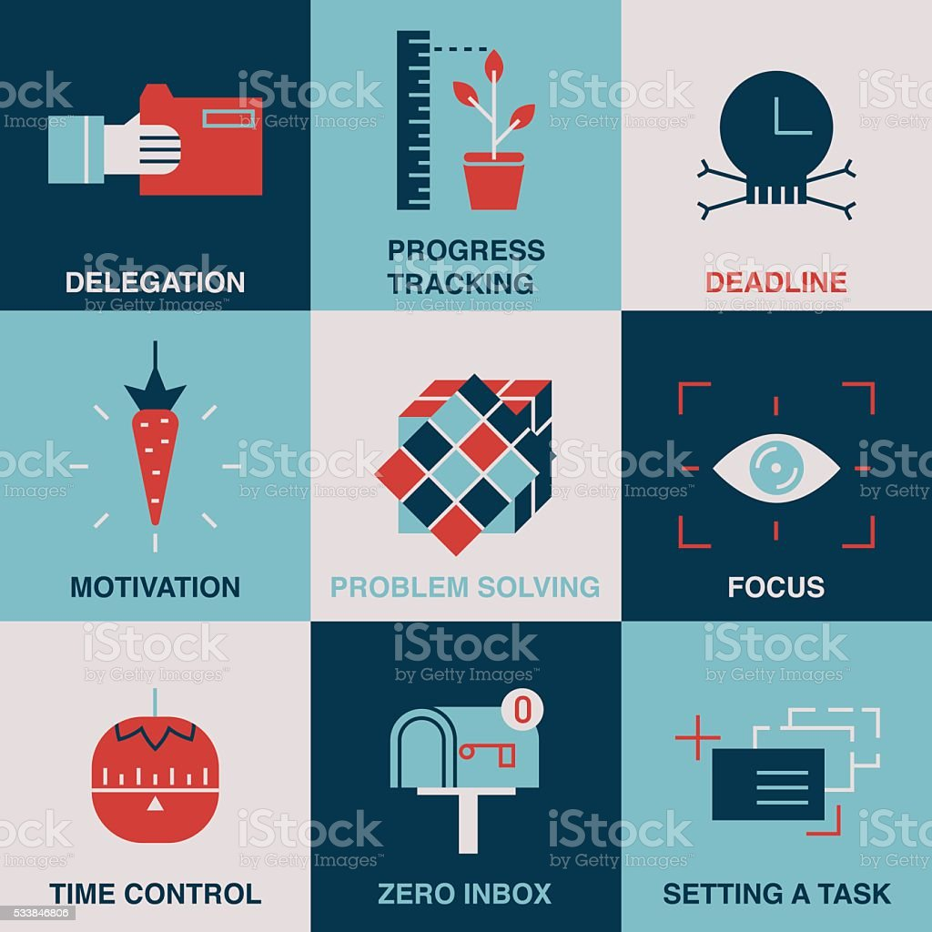 Productivity line and color icon set. vector art illustration