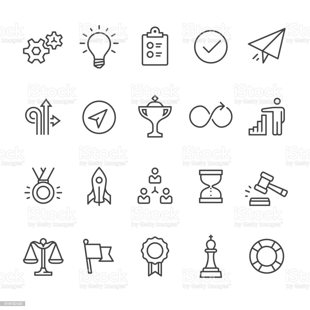 Productivity outline vector icons vector art illustration