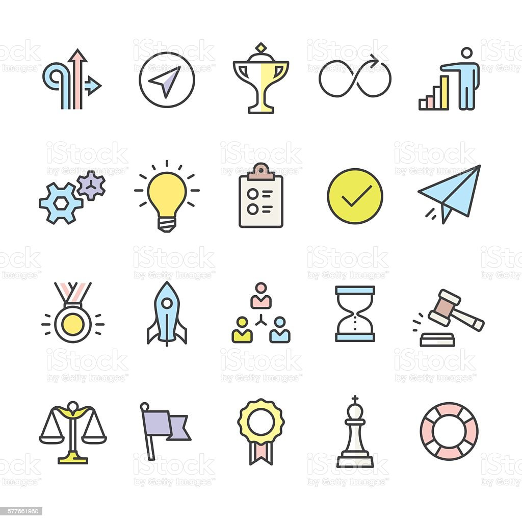 Productivity pack - outline color vector icons vector art illustration