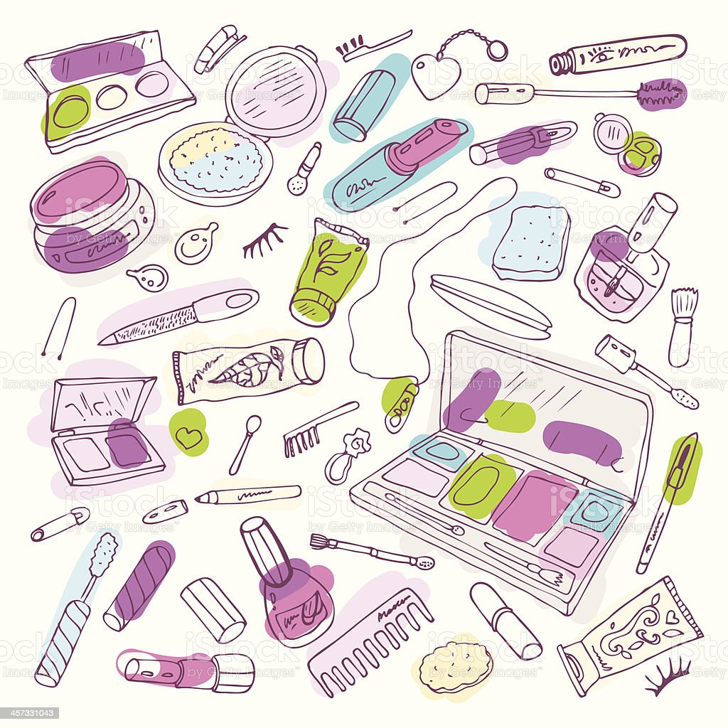 Products for makeup and beauty vector art illustration