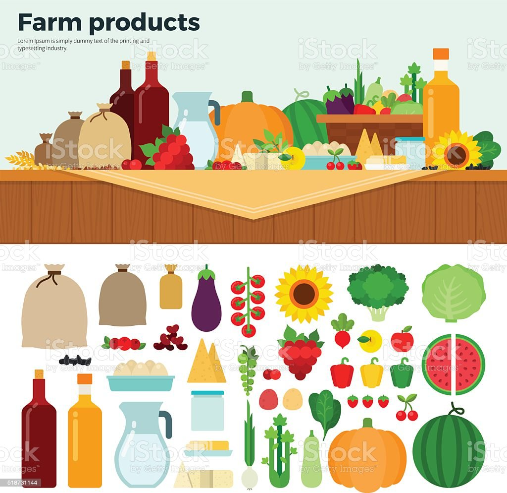 Products from the village vector art illustration