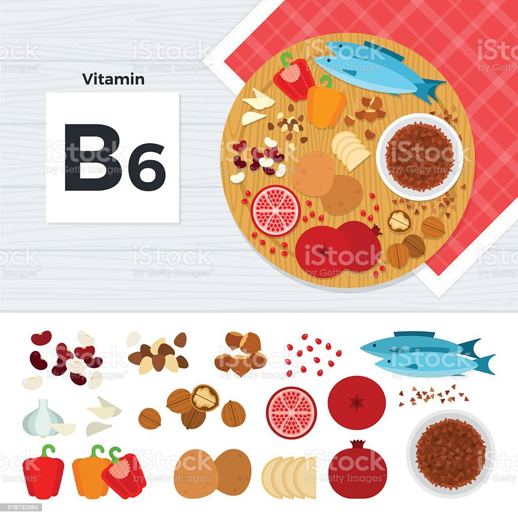 Products with vitamin B6 vector art illustration