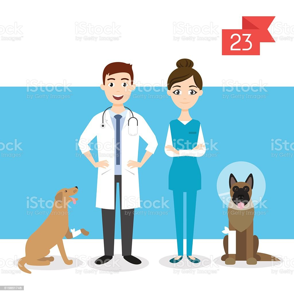 Profession characters: man and woman. Vet. vector art illustration