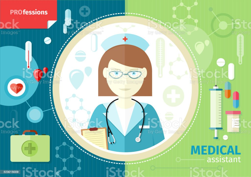 Profession concept with medical assistant vector art illustration