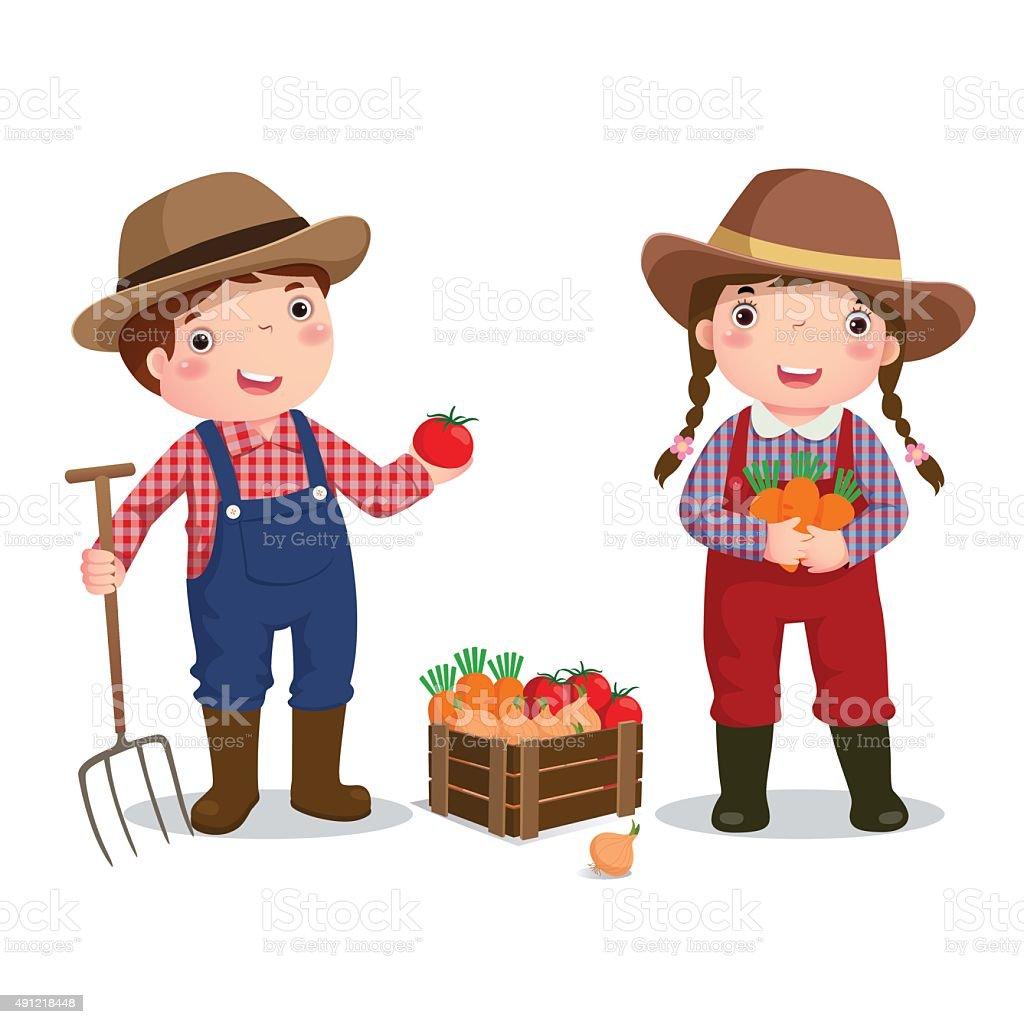 Profession costume of farmer for kids vector art illustration