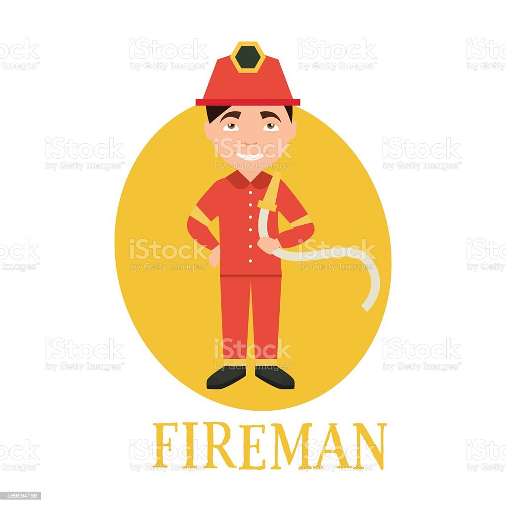 Profession fireman. young man working as a fireman . vector...