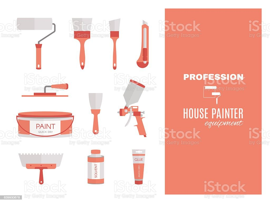 Profession - house painter. Repairing tools set. Flat decorative icons. vector art illustration