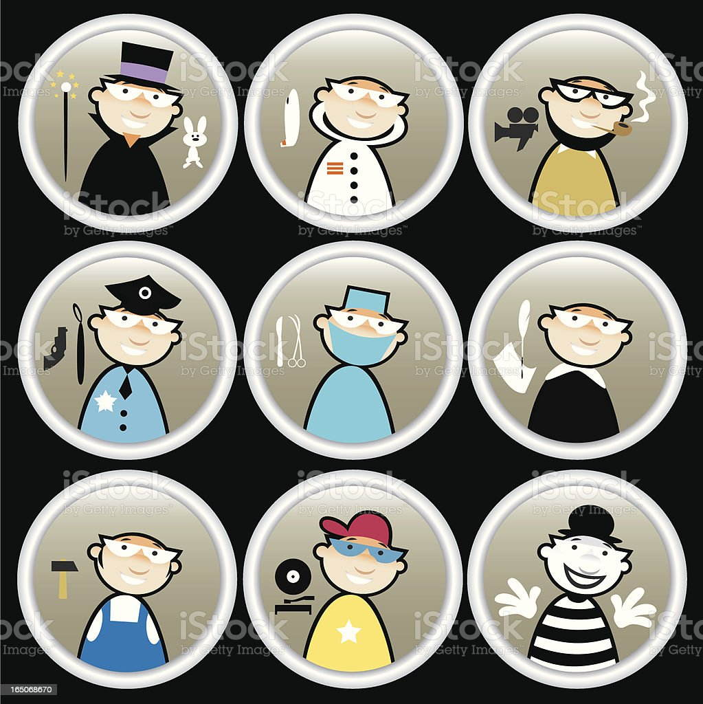 profession icons vector art illustration