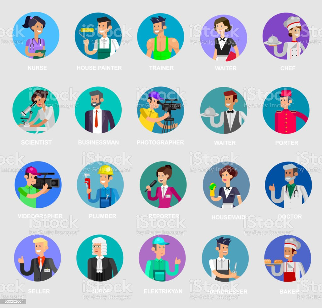 Profession people. Detailed character vector art illustration