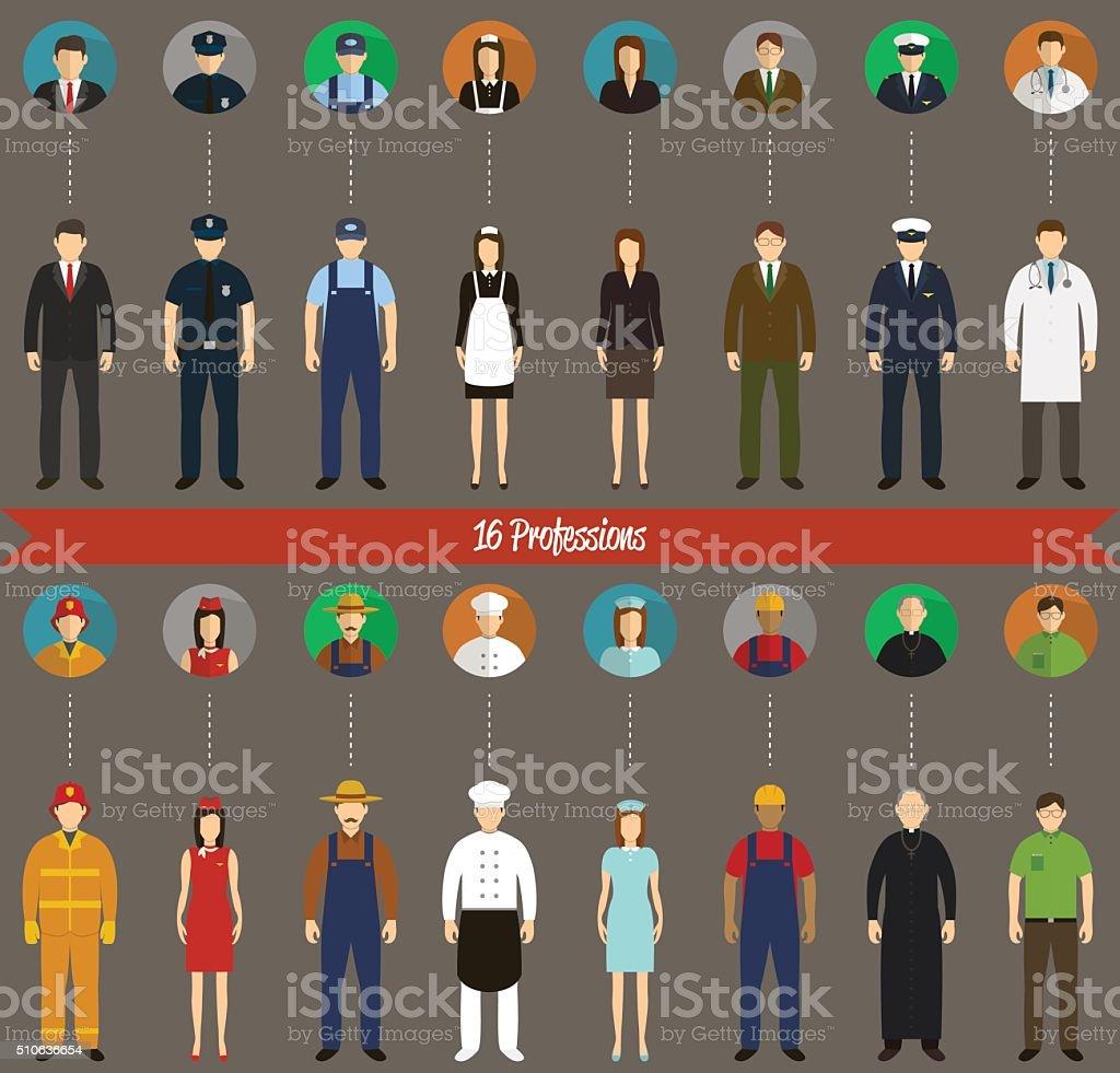Profession People set. Vector vector art illustration
