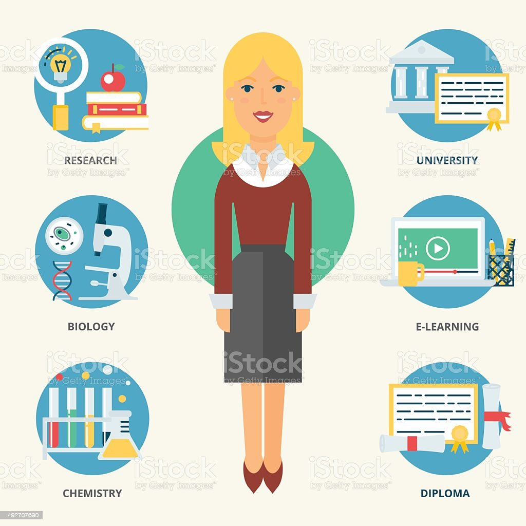 Teacher. Vector illustration, flat style