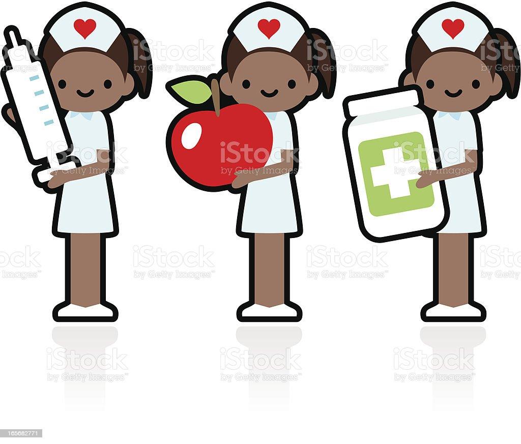 Professional and Kindly Smiling Nurse Holding Syringe, Apple, Medicine royalty-free stock vector art