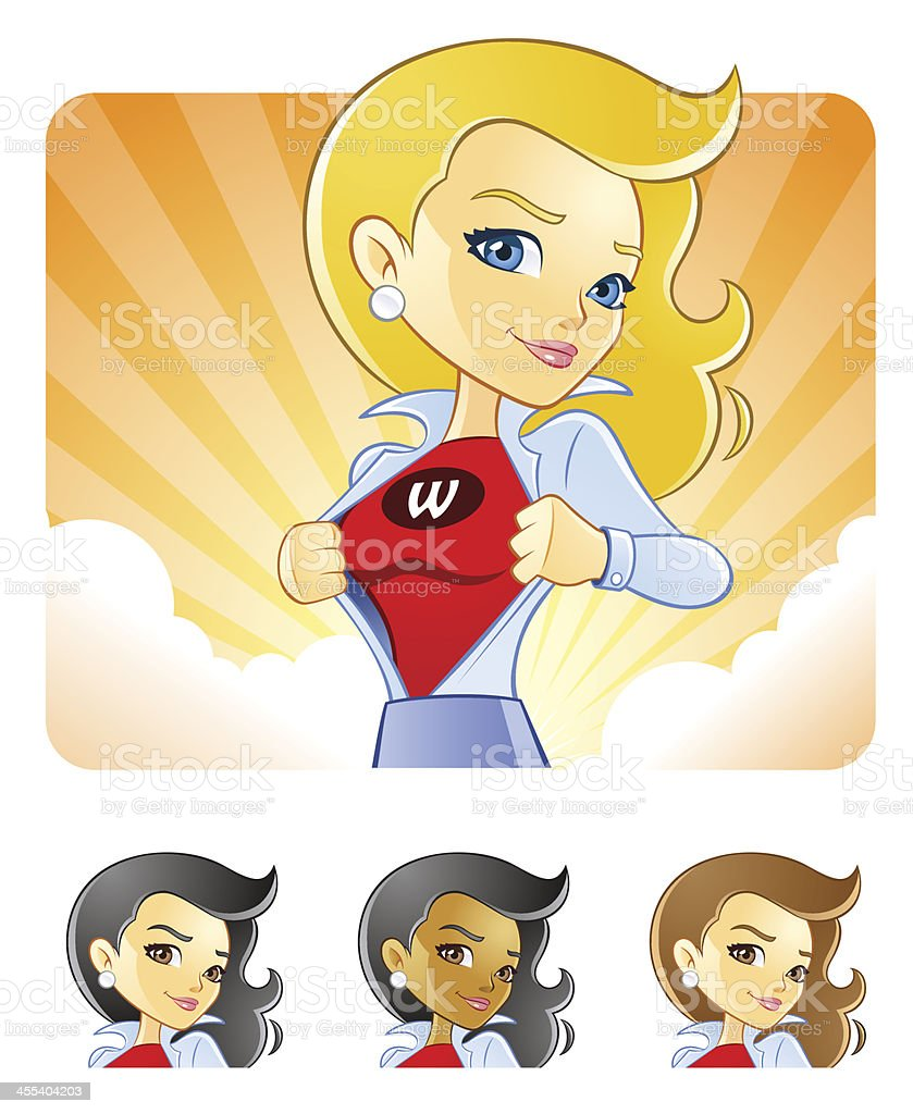 Professional Business Super Woman Changing into Hero vector art illustration