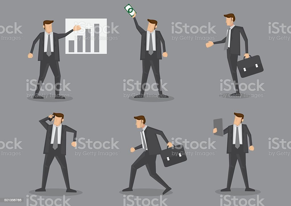 Professional Businessman in Action at Work Vector Illustration vector art illustration