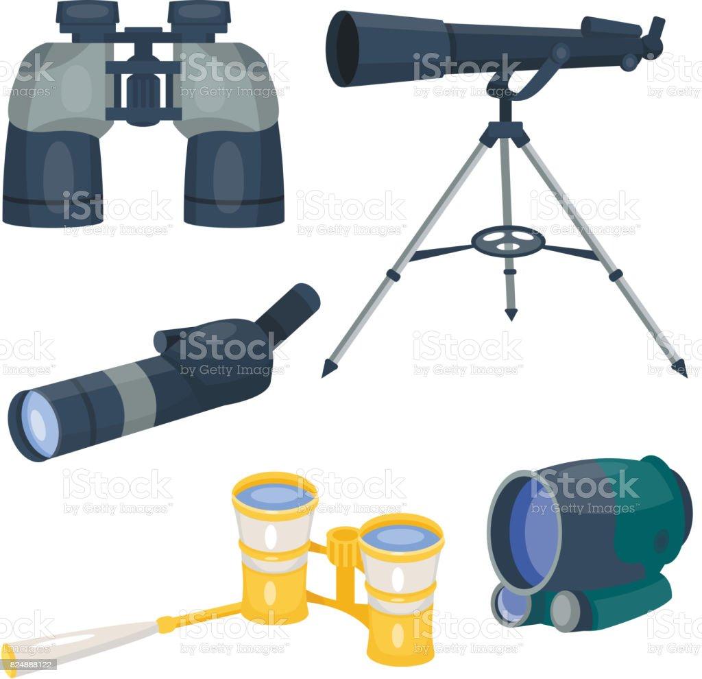 Professional camera lens binoculars glass look-see spyglass optics device camera digital focus optical equipment vector illustration vector art illustration