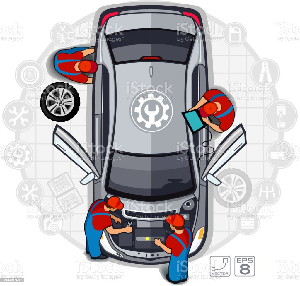 Professional car repair vector art illustration