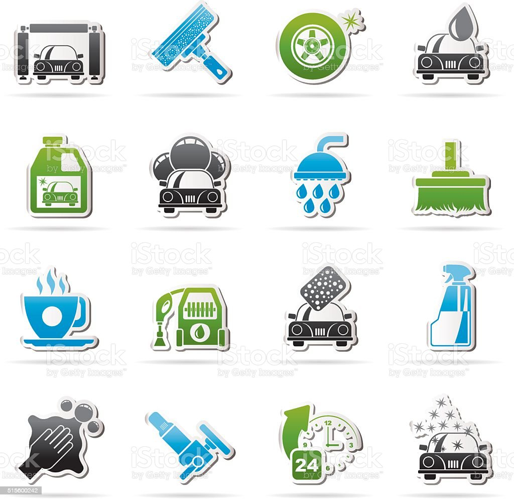Professional car wash objects and icons vector art illustration