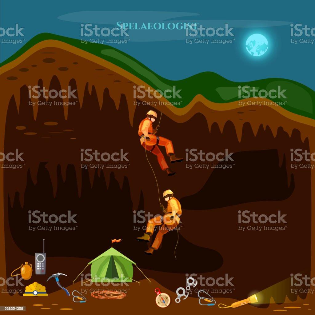 Professional cavers industrial climbing cave exploration vector art illustration