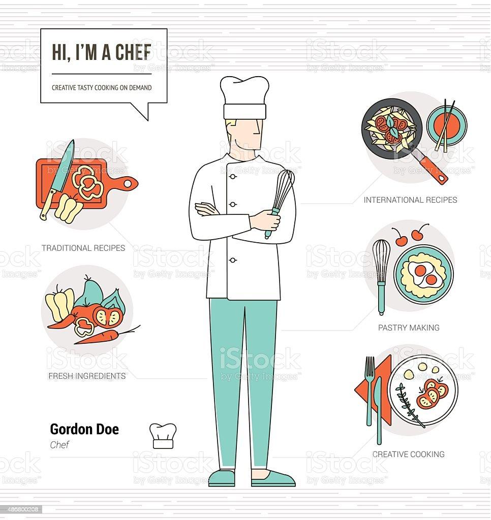 Professional chef vector art illustration
