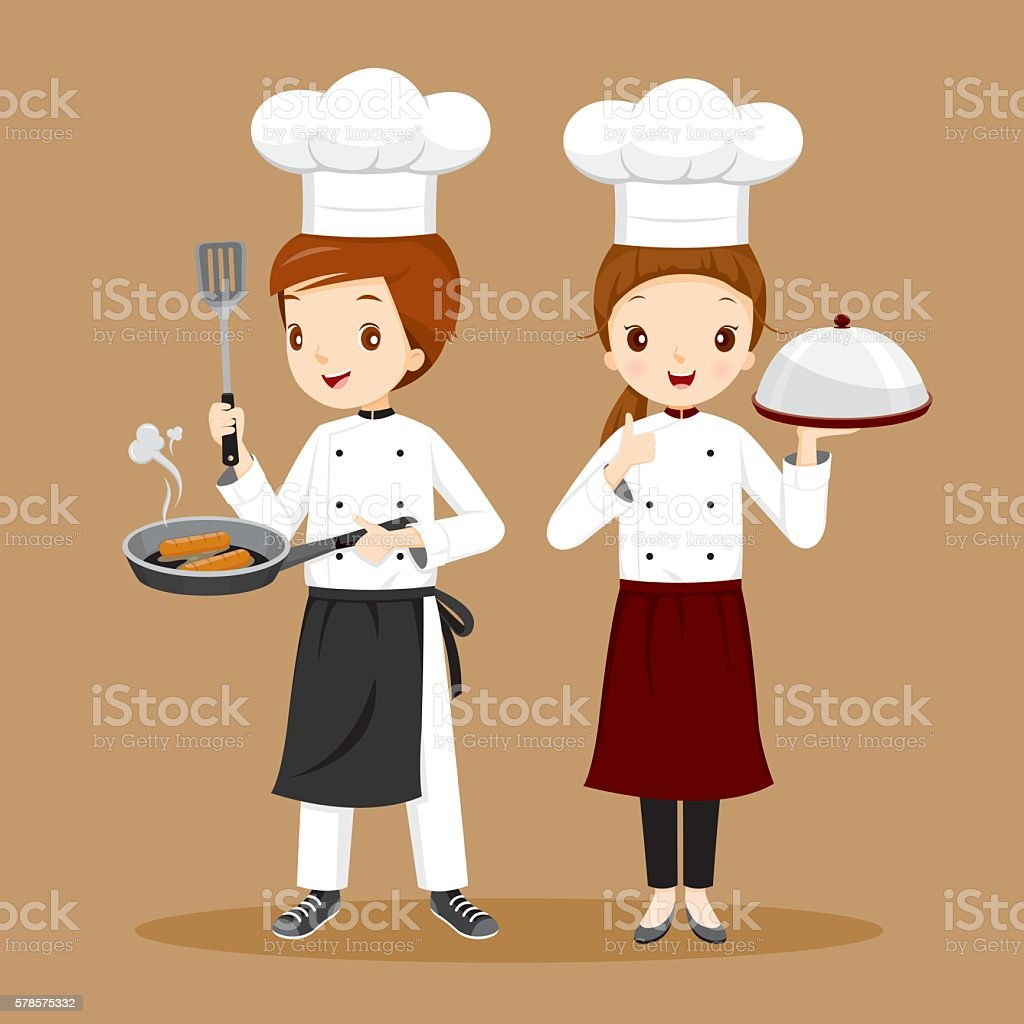 Professional Chefs With Foods In Hands vector art illustration
