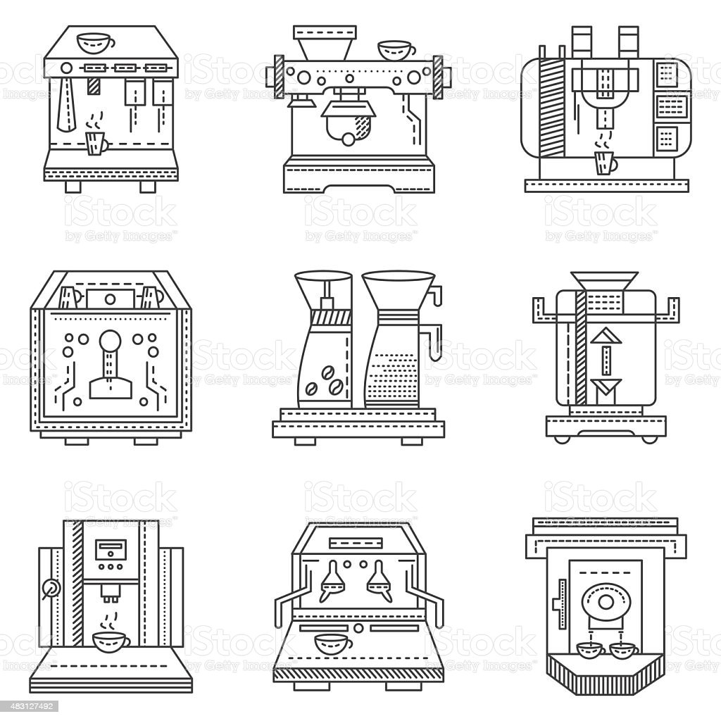 Professional coffee machines flat line vector icons vector art illustration