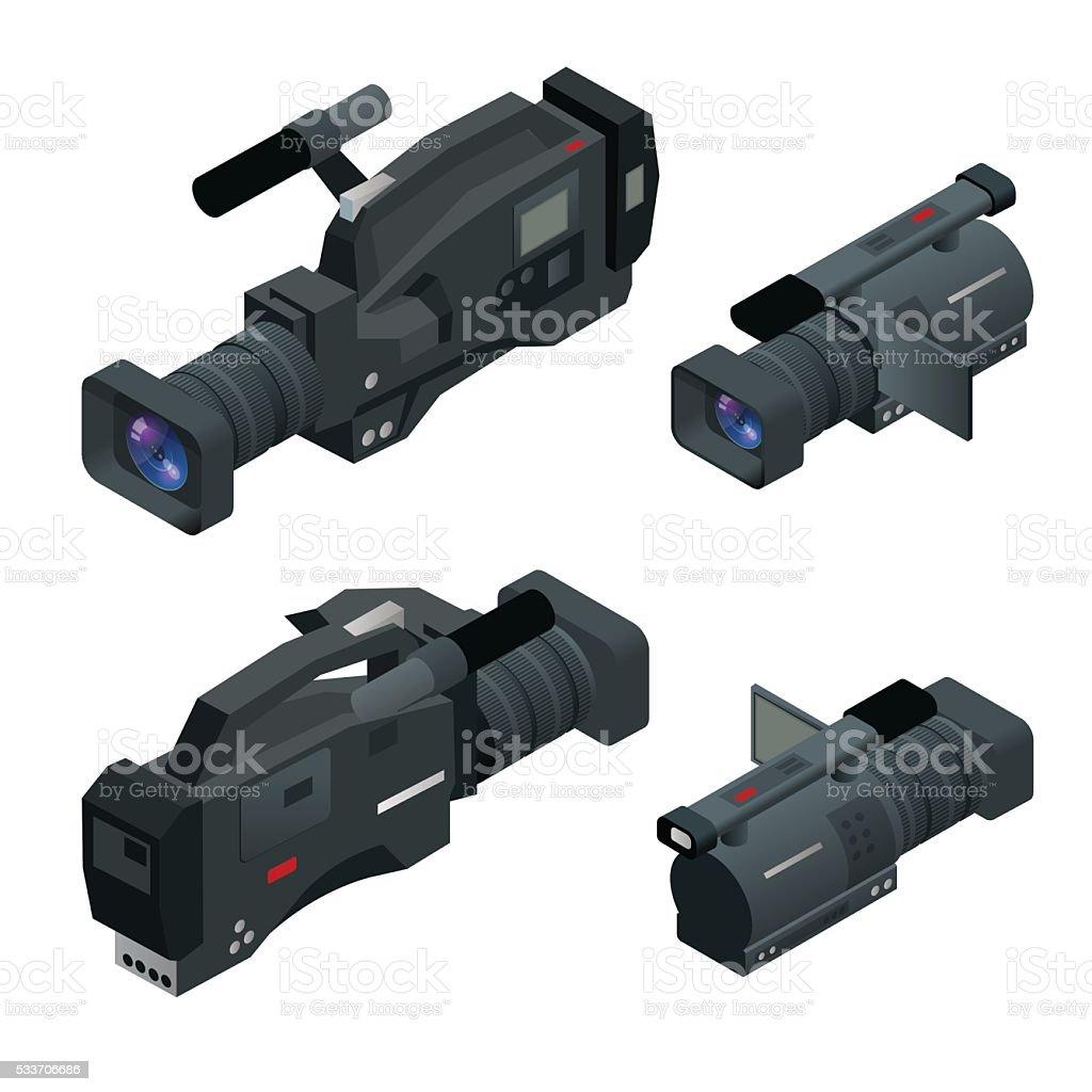 Professional digital video camera vector art illustration