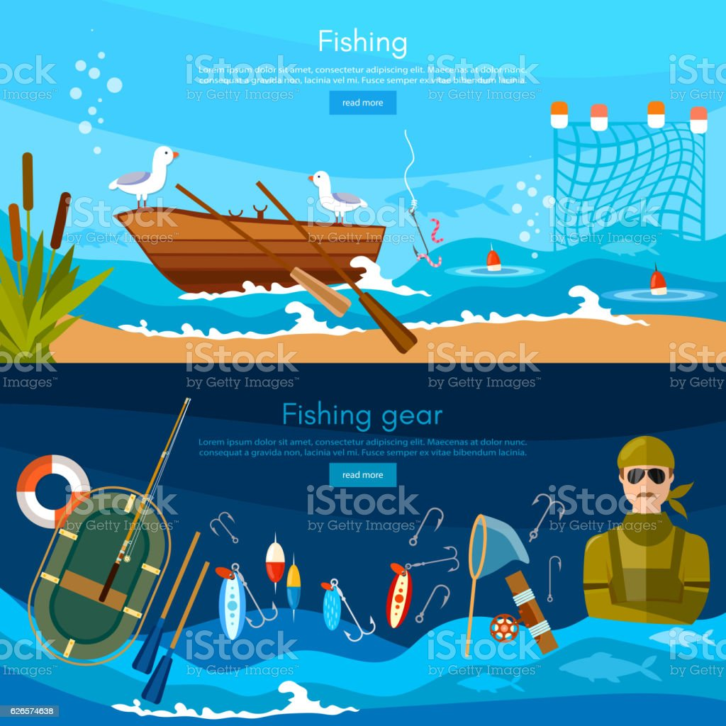 Professional fishing banners, fisherman catches fish vector art illustration